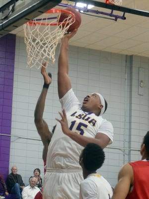 Louisiana State University at Alexandria Generals' William Claiborne (15) gets two against the William Carey Crusaders, Thursday, Dec. 21, 2017.