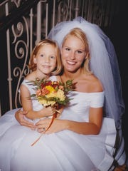 Joy at her wedding to Cole in 1999 with Skip.