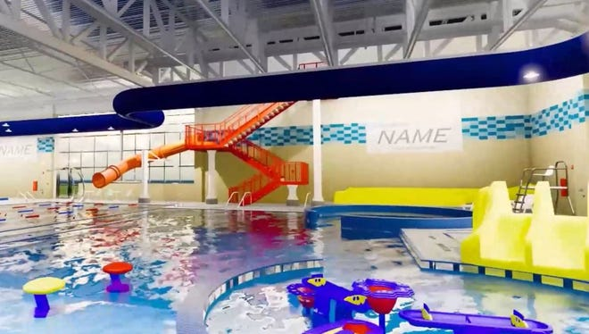 A screenshot of a virtual fly through of aquatic improvements at the Mitchell Recreation Center, designed by MSH Architects of Sioux Falls.