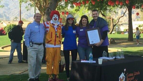 left to right: Mike Kovack, LLRMH Executive Director;  Ronald McDonald, Bianca Rae of  KESQ;  Linda Evans, Mayor La Quinta; Mike Verbitski, LLRMH Board member.