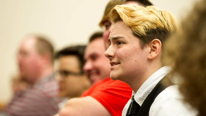 Henry Seaton, a transgender high school senior, listens during a House subcommittee hearing Tuesday about a bill seeking to require schoolchildren to use restrooms according to the gender on their birth certificates.