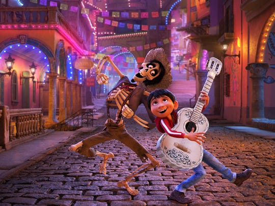 """In this image released by Disney-Pixar, the character Hector, voiced by Gael Garcia Bernal, left, and Miguel, voiced by Anthony Gonzalez, appear in a scene from the animated film, """"Coco."""""""