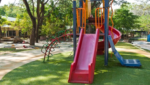 Stock image of a playground.