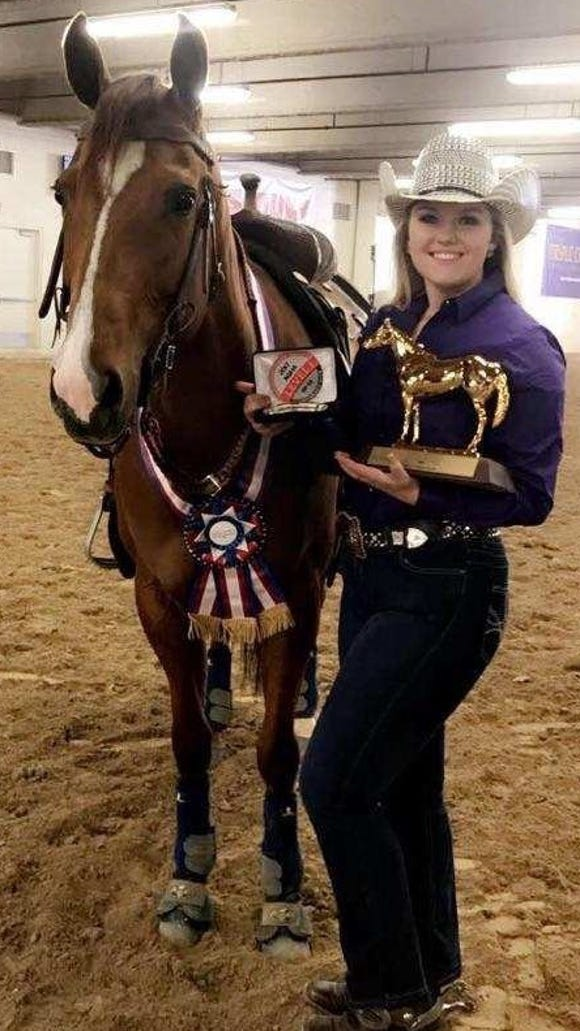 Olympic High sophomore Vanora Washburn, of Poulsbo, seen with her horse Question My Luck, won two AQHA titles at the West Level 1 Championships April 19-23 in Las Vegas. She won in barrel racing and pole bending.
