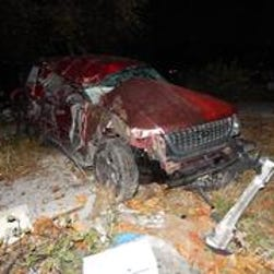 Indiana State Police Police say Phillip Epperly's pickup truck ran off the road and into a tree, fence post and utility pole Oct. 30, 2014, in rural Tipton, Ind.