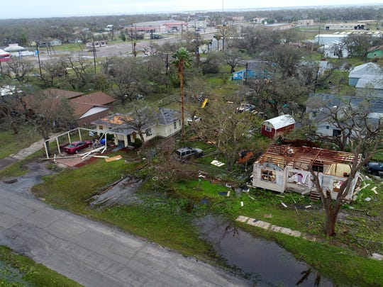 Aerial footage from Aransas Pass, Texas after Hurricane Harvey.