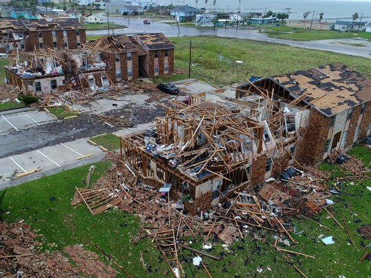 An aerial view of Saltgrass Landing Apartments in Rockport after Hurricane Harvey roared ashore.