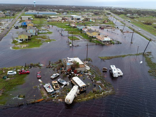 Aerial footage from Rockport, Texas, after Hurricane Harvey on Aug 27, 2017.