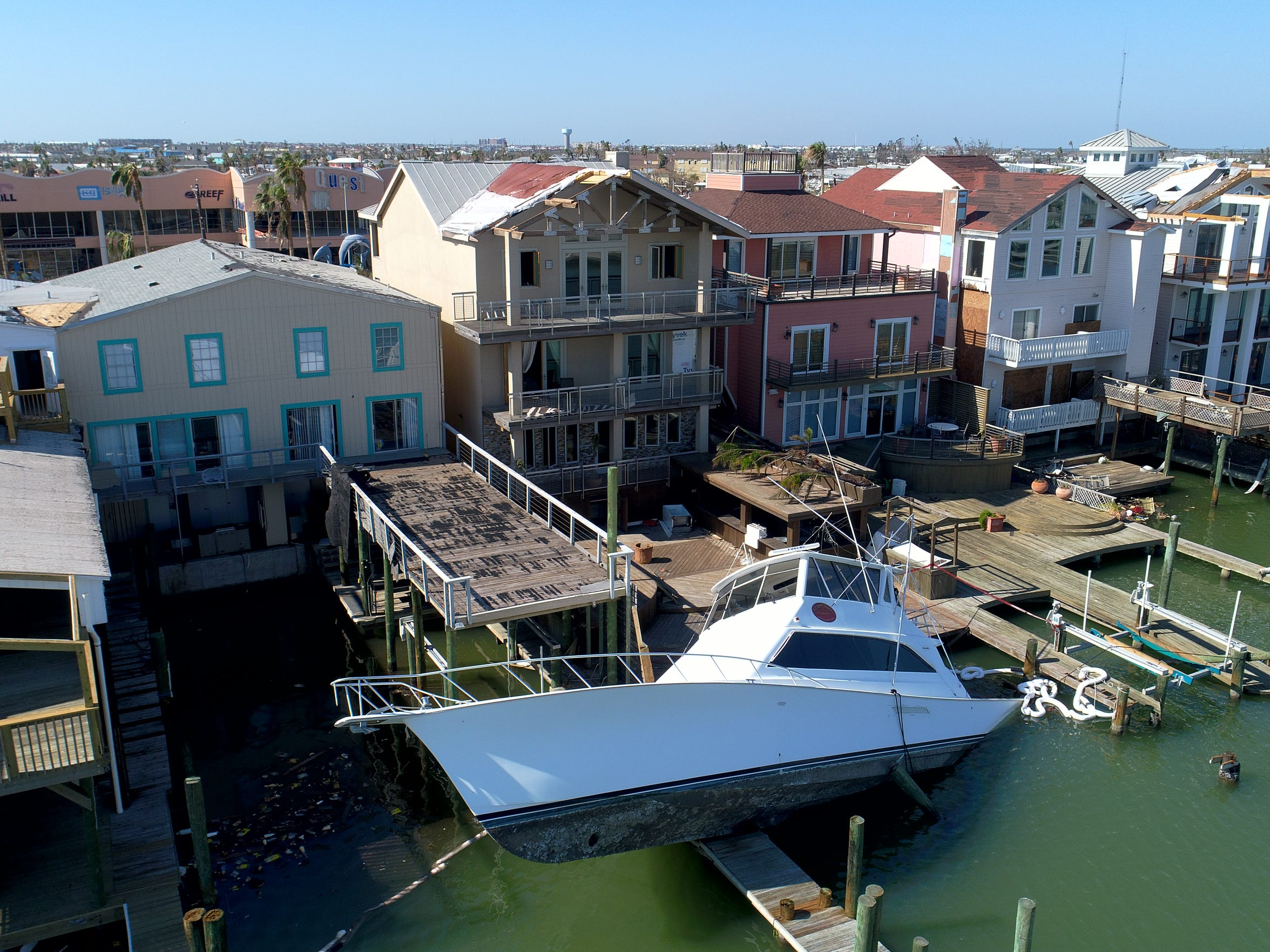 Aerial view of Hurricane Harvey damage in Port Aransas,