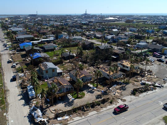 Aerial view of Hurricane Harvey damage in Port Aransas, TX. Harvey struck the Coastal Bend as a Category 4 hurricane on Friday, August 25, 2017.