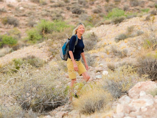 Deborah Wall, author of the guidebook Base Camp Las Vegas, in Red Rock National Conservation Area.