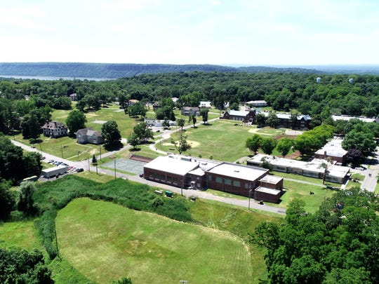 The Children's Village in Dobbs Ferry, New York, as seen from a drone on June 21, 2018.  An undisclosed amount of immigrant children is being held at the facility as part of a contract with the United States Department of Health and Human Services