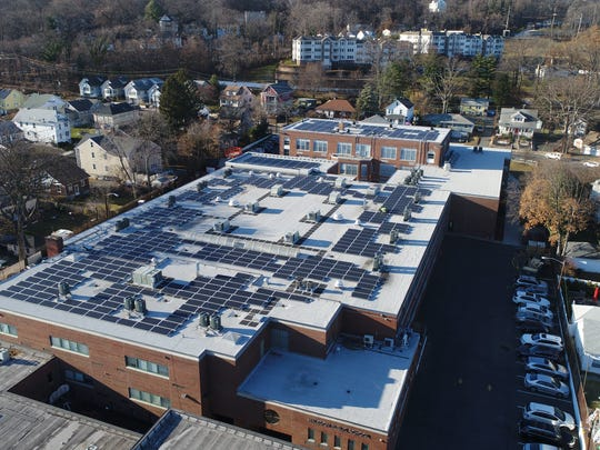 Solar panels installed atop Haledon Public School.