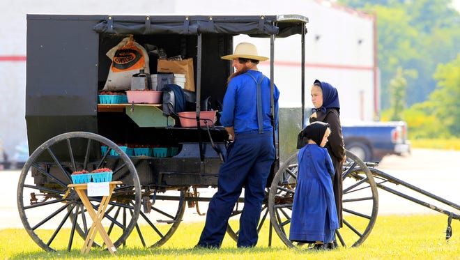 An Amish family sell berries in Springville, N.Y.