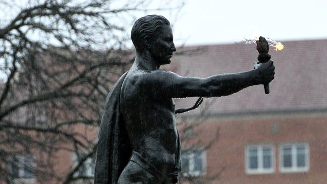 The Torchbearer on the UTK campus on a rainy Thursday, Mar. 1, 2018.