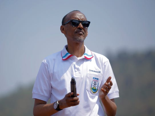 Rwandan President Paul Kagame addresses supporters