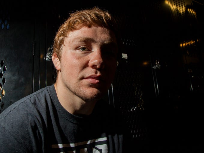 Iowa 197-pound freshman Jacob Warner poses for a portrait