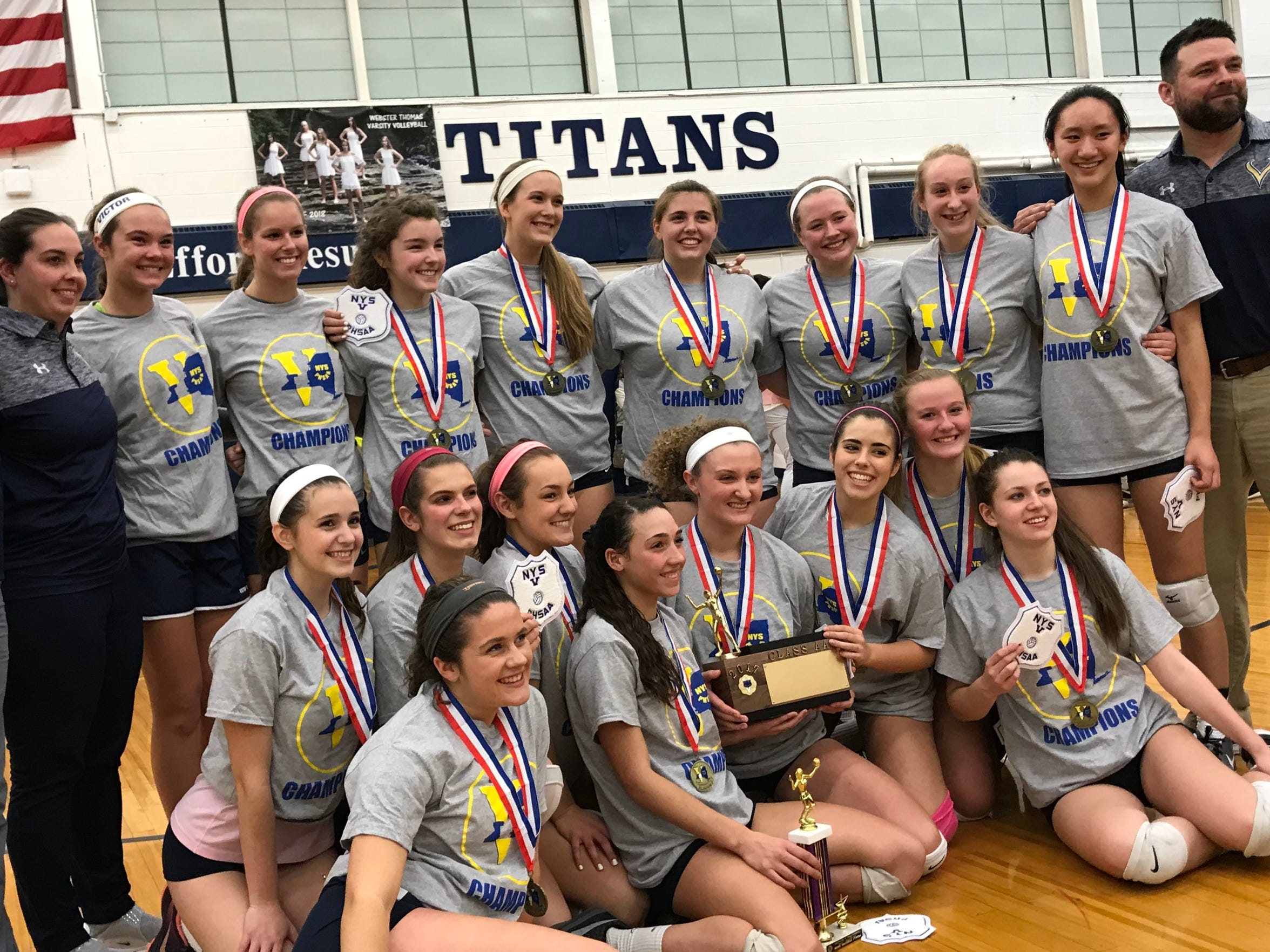 The Victor girls volleyball team avenged last year's title match loss to Penfield by beating the defending Class AA state champions Saturday at Webster Thomas in four sets.