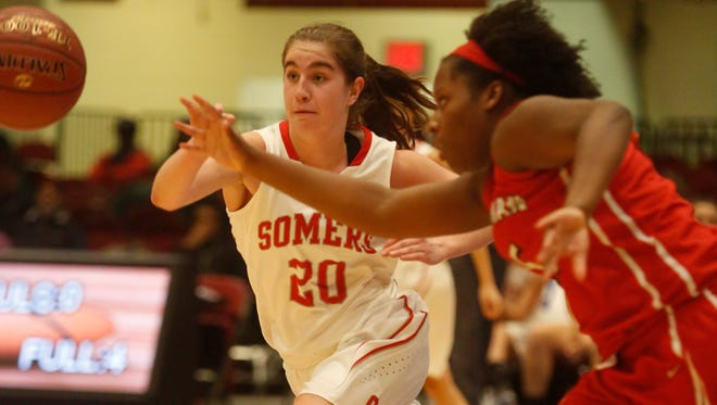 Somers Hannah Angelini (20) drives around a Spellman defender during the semi-finals at the 18th Annual Slam Dunk Tournament at the Westchester County Center in White Plains on Dec. 26, 2016.