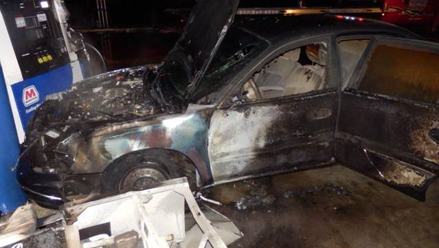 Fuel pumps and a car caught fire after a driver crashed into several pumps early Friday morning, a Wayne Township Fire Department news release notes. The driver escaped and was taken to Eskenazi Hospital in good condition.