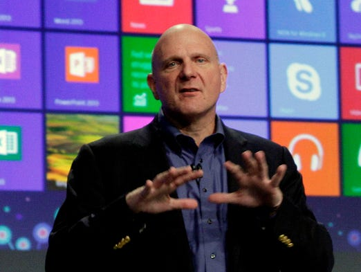 Microsoft CEO Steve Ballmer gives his presentation at the launch of Microsoft Windows 8 on Oct. 25, 2012, in New York. The company announced Aug. 23 that Ballmer will retire within 12 months.