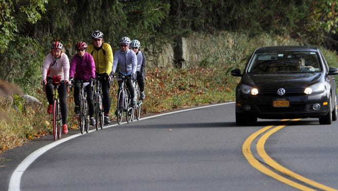 Joe Larese/The Journal NewsWestchester Cycle Club members ride Oct. 30 on Route 202 in Somers. Many cyclists are concerned that Merrill's Law is not being enforced.Members of the Westchester Cycle Club bicycle along Route 202 in Somers Oct. 30, 2014. Many bicyclists are concerned that Merrill's Law, which requires drivers to safely pass cyclists, is not being enforced.