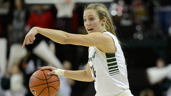 UW-Green Bay's Megan Lukan shouts instructions to her teammates during Thursday night's Horizon League game against Wright State at the Kress Events Center in Green Bay. Evan Siegle/Press-Gazette Media