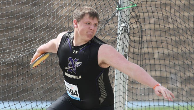Norwalk junior Tyler Endres finished 23rd in the Drake Relays boys discus with a 139-foot, 7-inch throw on April 26.