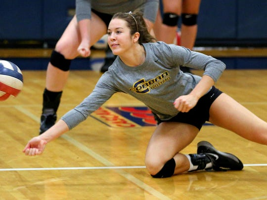 Corban outside hitter Amber Parker dives for a ball during practice, Monday, October 26, 2015, at the C.E. Jefferson Sports Center in Salem, Ore.