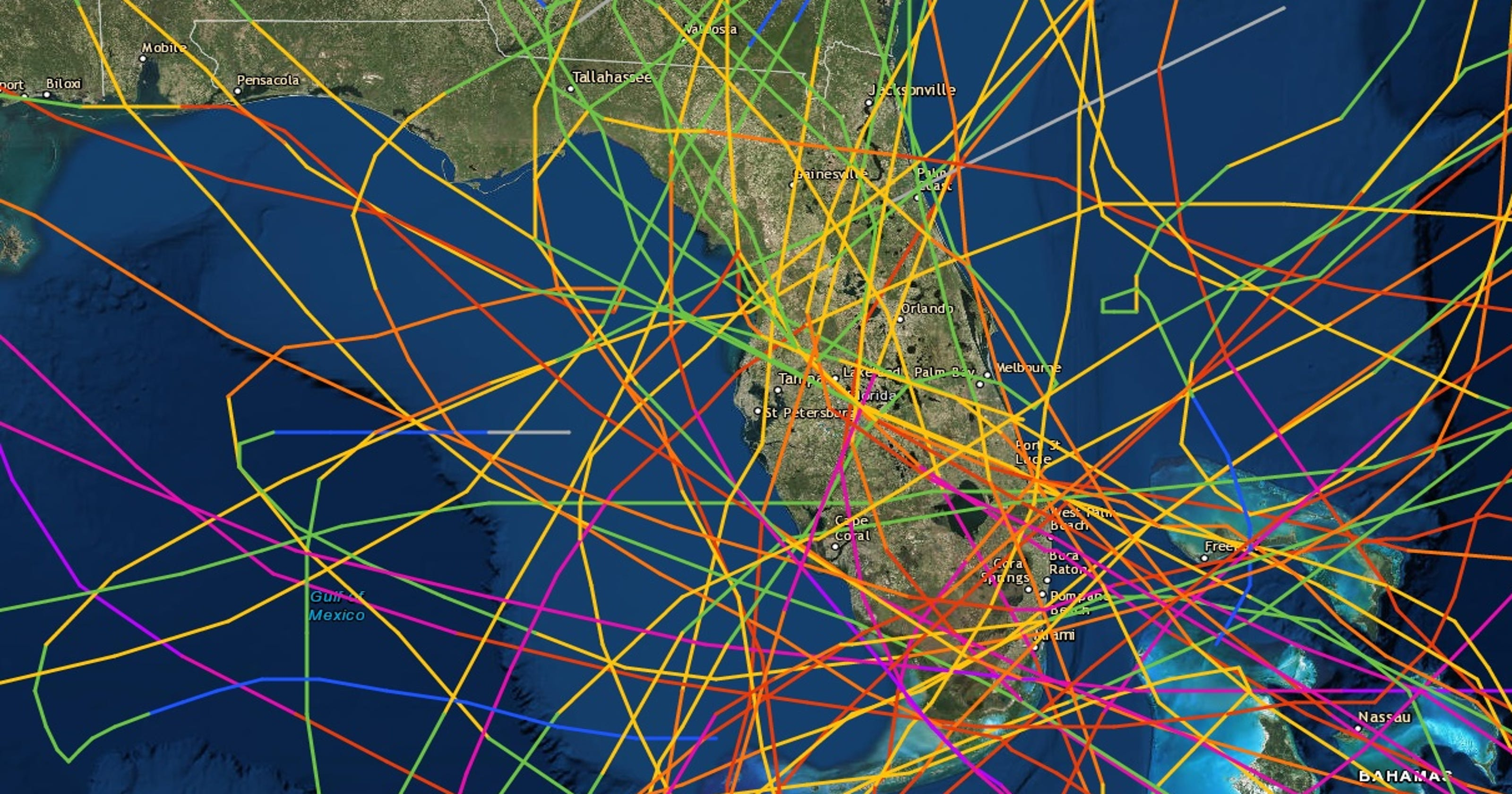 Florida Hurricane Magnet For A Century - Us-hurricane-landfall-map