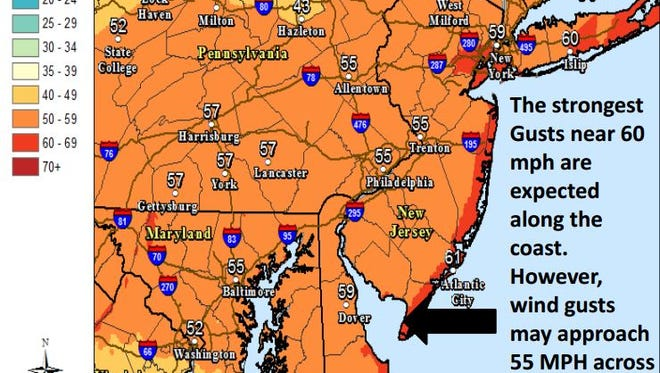 The National Weather Service in Mount Holly prepared this forecast map for its brief on Saturday evening.