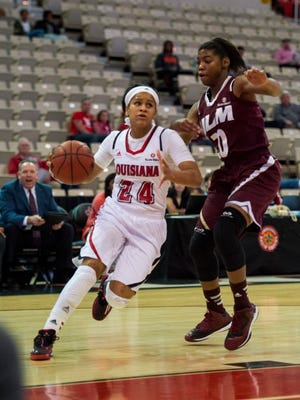 Cajuns guard Keke Veal (24) has been named LSWA Player of the Week.