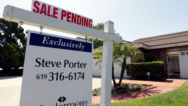 A home with a sale pending sign in San Diego.