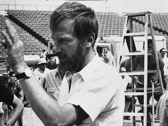 """Winning"" director Jim Goldstone gives directions during filming at the Indianapolis Motor Speedway in 1968"