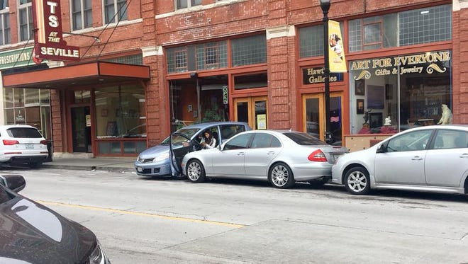 A passer-by snapped this photo Tuesday of a crash in downtown Springfield.