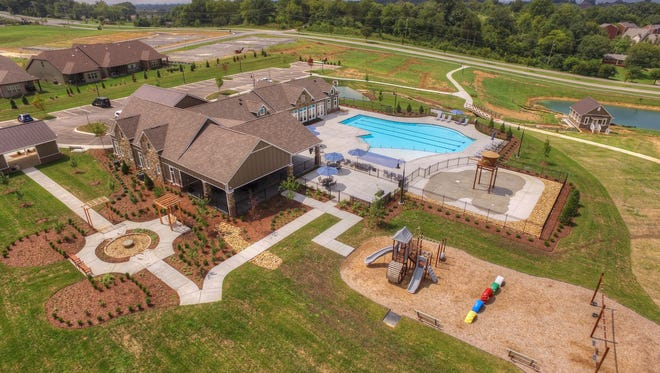 A drone took this photo of the swimming pool, playground and clubhouse in Goodall Homes' Millstone master-planned neighborhood in Hendersonville.