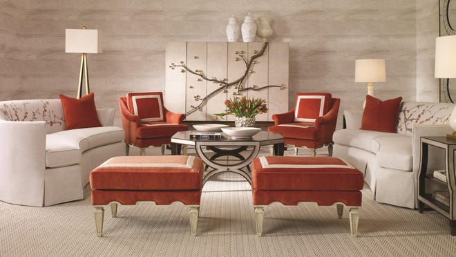 Dramatic Cherry Blossom upholstery fabric is designed to match the branch pulls on the television cabinet.