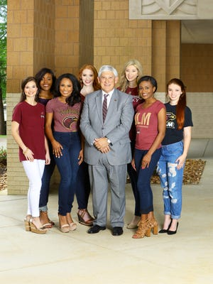 The University of Louisiana Monroe is well represented at this week's 2017 Miss Louisiana Pageant, with six current students and one May graduate participating. Pictured with President Nick J. Bruno are, from left, Miss Monroe Baylea Huffman, Miss Union Parish Christina Gray, Miss Cane River Jo' Hilliard, Miss ULM Ashlynn Lanford, Miss Heart of Pilot Lauren Ford, Miss Taste of the Twin Cities J'Lyn Henderson and Miss Louisiana Stockshow Allison Newton.