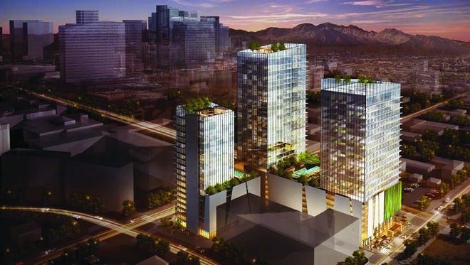 An artist's rendering of a proposed apartment project at Third and Pierce streets in downtown Phoenix.