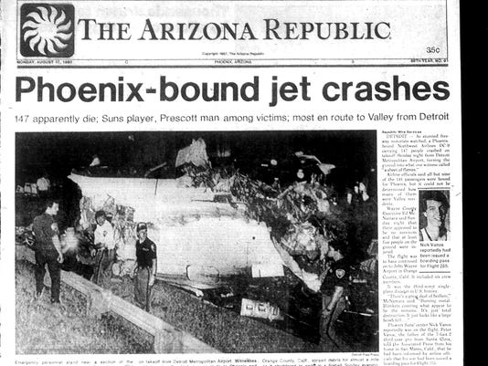 Front page of The Arizona Republic flight 255 coverage