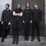 Imagine Dragons, from left, Dan Platzman, Dan Reynolds, Daniel Wayne Sermon and Ben McKee at the Mayan Theater in Los Angeles. The band will launch its Smoke + Mirrors Tour on June 3