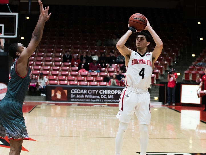 Dre Marin shoots during SUU's 66-62 win over Eastern