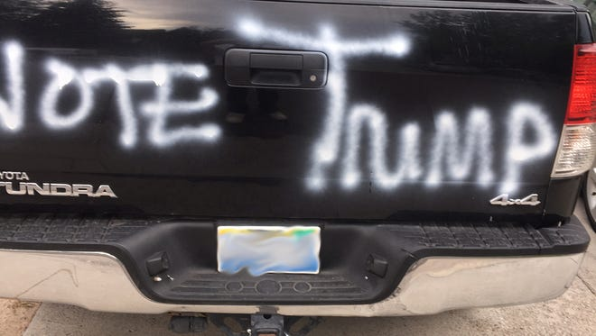 "Esmeralda Estrada's car was vandalized overnight with white spray-paint saying ""VOTE TRUMP."""