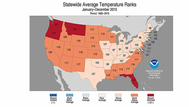 Every state in the U.S. was warmer than average in 2015. Four states -- Washington, Oregon, Montana and Florida were record warm.