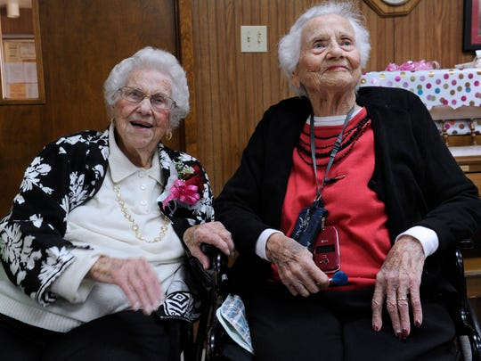 Ferne Lee (left) celebrated her 100th birthday Feb 12 at the Baird Community Center with her sister Alma Mitchell, who turned 103 two days later. Mitchell passed away Feb. 20, a week after this photo was taken.