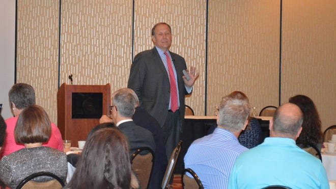 Jeffrey Joerres, executive chairman of ManpowerGroup, speaks to Manitowoc area business leaders on Thursday, June 18.