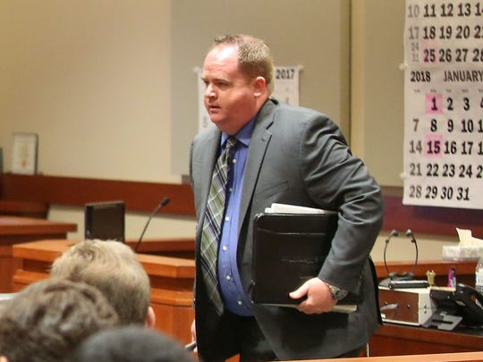 "James McKinnon, an attorney with Silver & Wright who has filed most of the ""prosecution fee"" cases in Indio and Coachella, leaves a court hearing on Monday, Nov. 13."