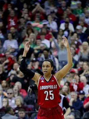 Louisville Asia Durr pumps the crowd up.  March 30, 2018