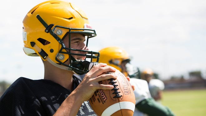 Mayfield sophomore Gage Guardiola is one of four quarterbacks vying for the Trojans' starting job.