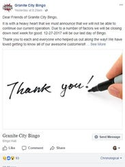 Granite City Bingo announced via Facebook post it will